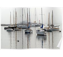 Foggy Day Harbor Poster