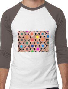 Close up macro shot of colouring pencils Men's Baseball ¾ T-Shirt