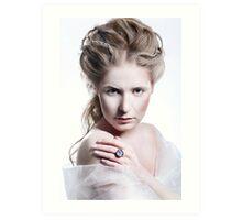 Beautiful girl with glamour Christmas makeup Art Print