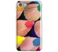 Close up macro shot of colouring pencils iPhone Case/Skin