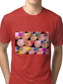 Close up macro shot of colouring pencils Tri-blend T-Shirt