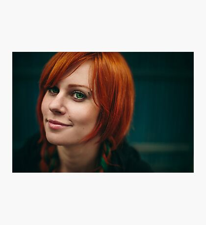 Beautiful red hair girl with deep green eyes Photographic Print