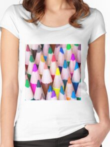 Close up macro shot of colouring pencils Women's Fitted Scoop T-Shirt