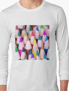 Close up macro shot of colouring pencils Long Sleeve T-Shirt