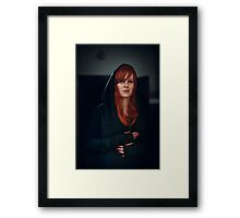 Dramatic portrait of beautiful red hair woman Framed Print