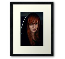 Dramatic portrait of beautiful red hair woman in black Framed Print