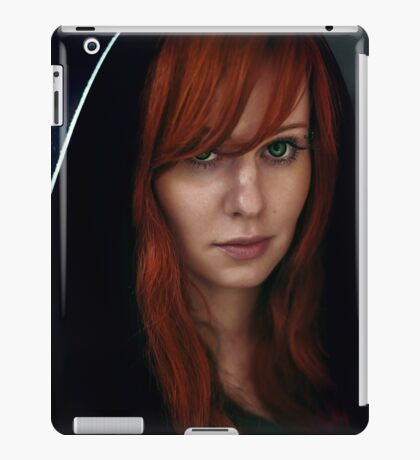 Dramatic portrait of beautiful red hair woman in black iPad Case/Skin