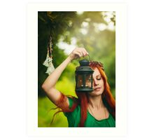 Beautiful red hair girl with deep green eyes  Art Print