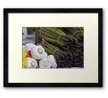 asparagus and onions Framed Print