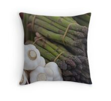 asparagus and onions Throw Pillow