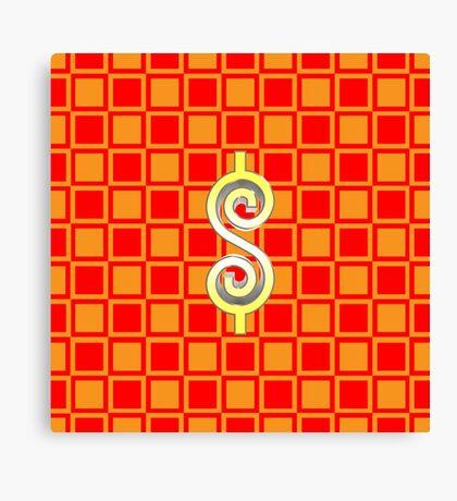 Dollar Sign Checkerboard Canvas Print