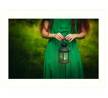 Woman with long red hair holding lantern Art Print