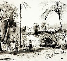 Artists at Work by the Johnstone River, Innisfail FNQ by Kerryn Madsen-Pietsch