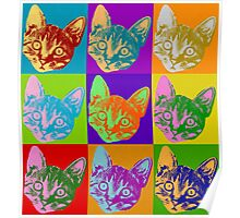 Cat Pop Art  Inspired Graphic Cats Kitty Bright Color Design Poster