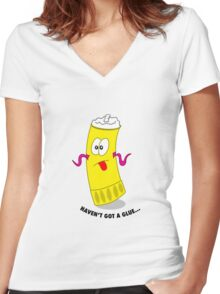 haven't got a glue Women's Fitted V-Neck T-Shirt