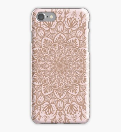 Rose Gold Beige Mandala iPhone Case/Skin