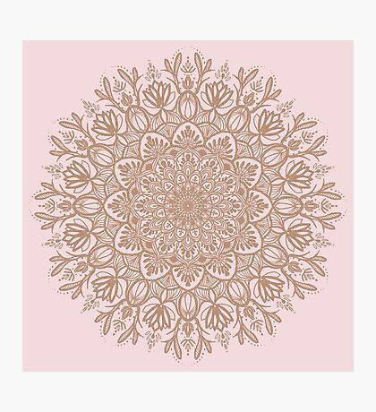 Rose Gold Beige Mandala Photographic Print