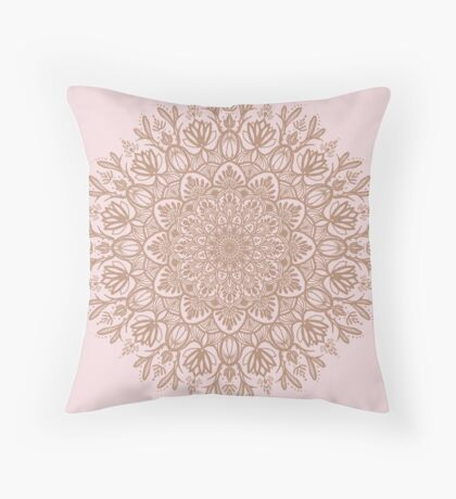Rose Gold Beige Mandala Throw Pillow