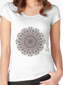 Black Beige Mandala  Women's Fitted Scoop T-Shirt