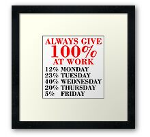 100% Percent at Work Framed Print