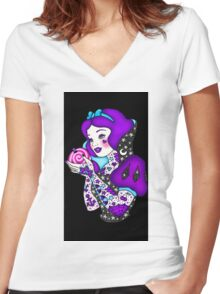 Purple Snow Women's Fitted V-Neck T-Shirt
