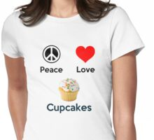 Peace Love & Cupcakes (Clothing & Stickers ) Womens Fitted T-Shirt