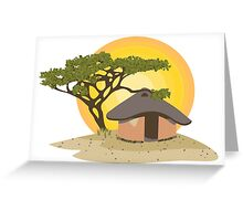 African Hut Illustration Greeting Card