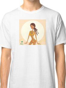 Bikini raggae girl. Young exotic girl in raggae style on beach Classic T-Shirt