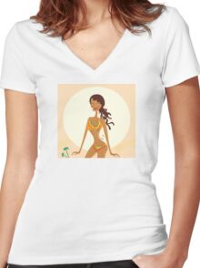 Bikini raggae girl. Young exotic girl in raggae style on beach Women's Fitted V-Neck T-Shirt
