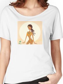 Bikini raggae girl. Young exotic girl in raggae style on beach Women's Relaxed Fit T-Shirt