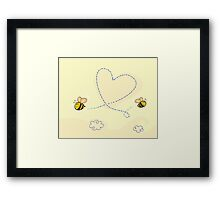 Bee's heart. Bees making big love heart in the air.  Framed Print