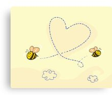 Bee's heart. Bees making big love heart in the air.  Canvas Print