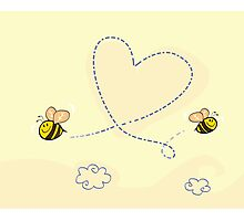 Bee's heart. Bees making big love heart in the air.  Photographic Print