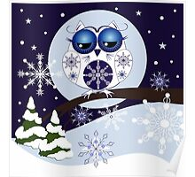 Snow Owl in Snowflakes land Poster