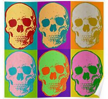 Skull Pop Art Retro Graphic Skulls Bright Color Design Poster