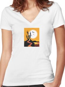 Haunted Castle. Bats over spooky Castle. Vector Illustration. Women's Fitted V-Neck T-Shirt