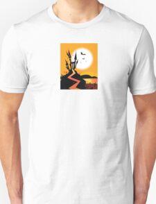Haunted Castle. Bats over spooky Castle. Vector Illustration. Unisex T-Shirt