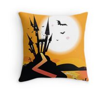 Haunted Castle. Bats over spooky Castle. Vector Illustration. Throw Pillow