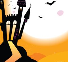 Haunted Castle. Bats over spooky Castle. Vector Illustration. Sticker