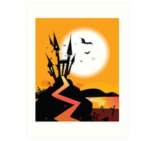 Haunted Castle. Bats over spooky Castle. Vector Illustration. Art Print