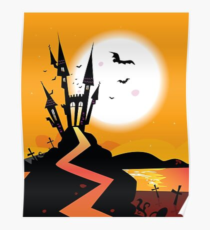 Haunted Castle. Bats over spooky Castle. Vector Illustration. Poster