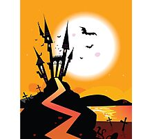 Haunted Castle. Bats over spooky Castle. Vector Illustration. Photographic Print