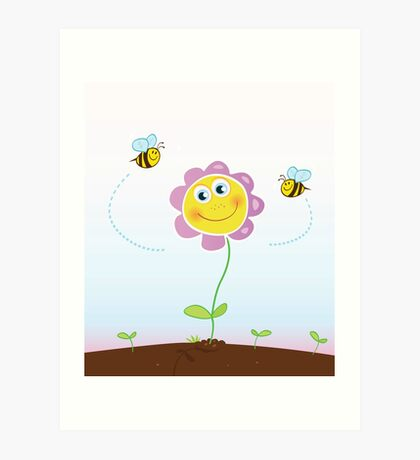 Bees and flower. Happy garden flower with bees around. Art Print