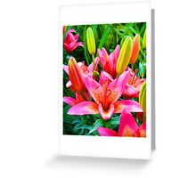 Electric Pink Lilies Greeting Card