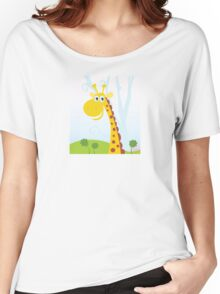 African Giraffe. Vector Illustration of funny animal. Women's Relaxed Fit T-Shirt