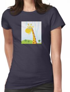 African Giraffe. Vector Illustration of funny animal. Womens Fitted T-Shirt