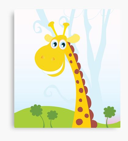 African Giraffe. Vector Illustration of funny animal. Canvas Print