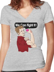 We can fight it! Women's Fitted V-Neck T-Shirt