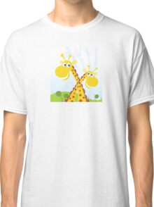 Two giraffes. Vector Illustration of funny african animals. Classic T-Shirt
