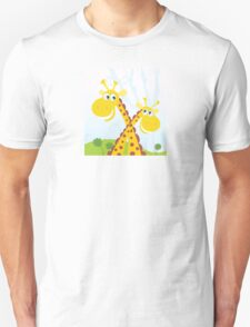 Two giraffes. Vector Illustration of funny african animals. Unisex T-Shirt
